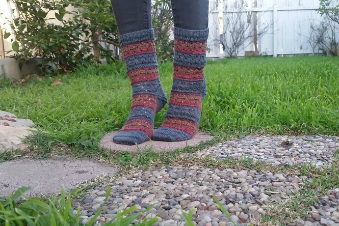 Hand Knit Socks, Self Striping Yarn